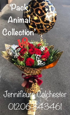 Roses Chocolates Balloon Wrapped in Leopard Animal Print by Jennifleurs Colchester