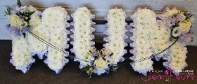 Lilac and White MUM Funeral Flowers