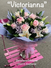 Pink Lilies and Pink Roses Flowers by Jennifleurs Colchester