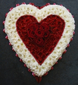 Red and White Heart (Rose Centred)