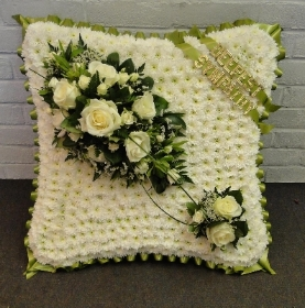 Large Cushion   White and Green