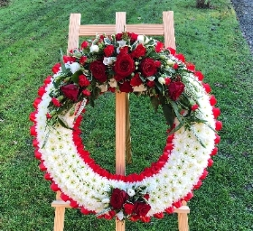 Red Rose Based Wreath on Stand
