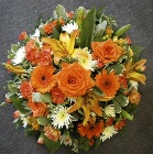 Cream and Orange Rose and Lily Posy