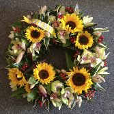 Sunflower and Orchid Woodland Wreath