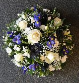 White and Blue Funeral Posy