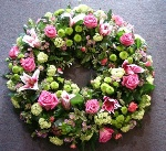 Pink Rose and Lily Wreath